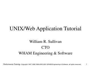 UNIX/Web Application Tutorial