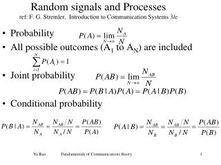Random signals and Processes ref: F. G. Stremler,  Introduction to Communication Systems 3/e