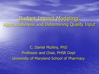 Budget Impact Modeling: Appropriateness and Determining Quality Input