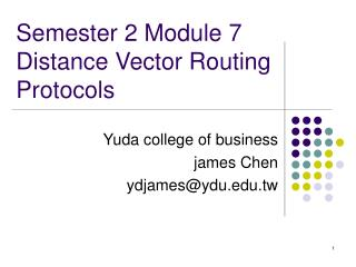 Semester 2 Module 7  Distance Vector Routing Protocols