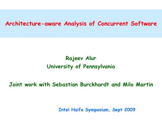 Architecture-aware Analysis of Concurrent Software