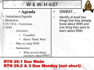 W & W: H 4/27