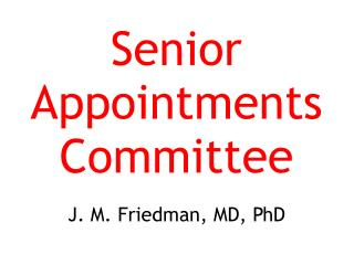 Senior Appointments Committee