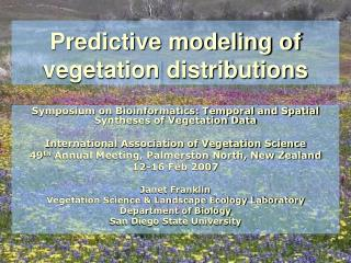 Predictive modeling of vegetation distributions