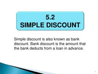 5.2 SIMPLE DISCOUNT