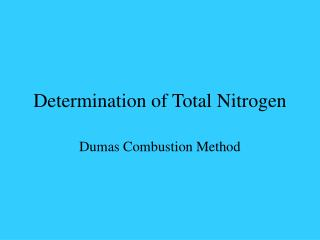 Determination of Total Nitrogen
