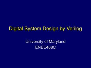 Digital System Design by Verilog