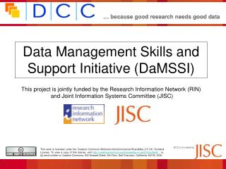 Data Management Skills and Support Initiative (DaMSSI)