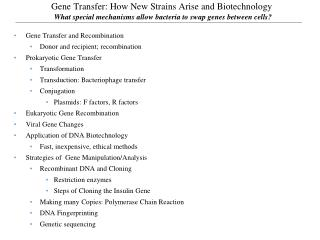 Gene Transfer: How New Strains Arise and Biotechnology  What special mechanisms allow bacteria to swap genes between cel