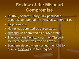 Review of the Missouri Compromise