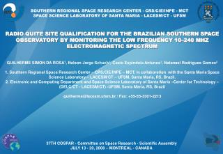 SOUTHERN REGIONAL SPACE RESEARCH CENTER - CRS/CIE/INPE - MCT