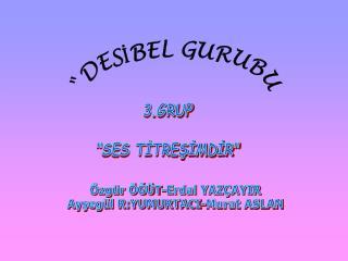 """3.GRUP """"SES TİTREŞİMDİR"""""""