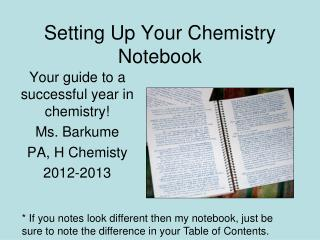 Setting Up Your Chemistry Notebook