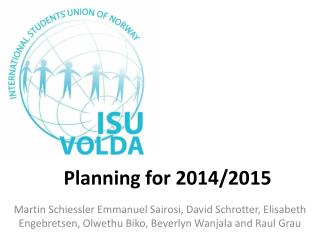 Planning for  2014/2015