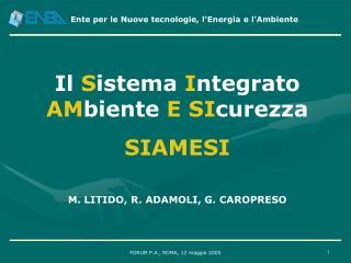 Il  S istema  I ntegrato  AM biente  E SI curezza SIAMESI M. LITIDO, R. ADAMOLI, G. CAROPRESO