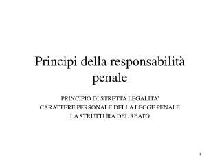 Principi della responsabilità penale