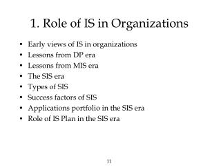 1. Role of IS in Organizations