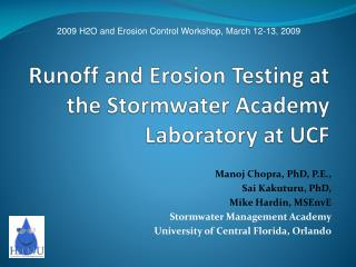 Runoff and Erosion Testing at the Stormwater Academy Laboratory at UCF