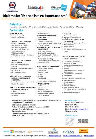 Nombre  Sence : Herramientas de Operaciones en Comercio Exterior. Código  Sence :12-37-8687-43.