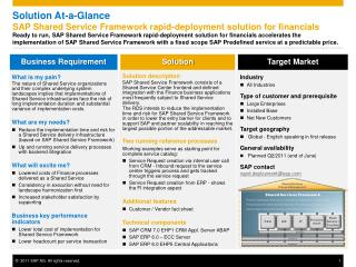 Solution At-a-Glance SAP Shared Service Framework rapid-deployment solution for financials