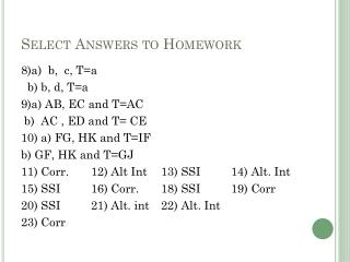 Select Answers to Homework