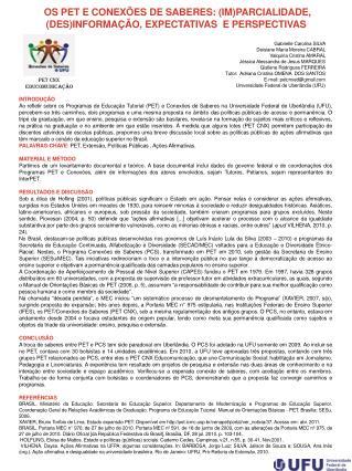 OS PET E CONEXÕES DE SABERES: (IM)PARCIALIDADE, (DES)INFORMAÇÃO, EXPECTATIVAS  E PERSPECTIVAS
