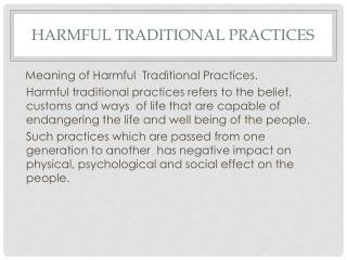 Harmful Traditional Practices