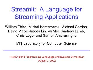 StreamIt:  A Language for Streaming Applications