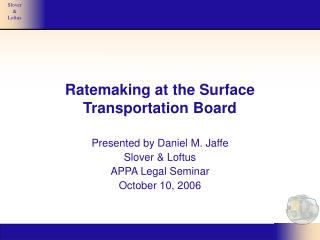 Ratemaking at the Surface Transportation Board