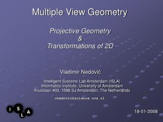 Multiple View Geometry Projective Geometry  &  Transformations of 2D