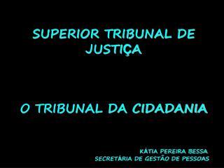SUPERIOR TRIBUNAL DE JUSTI � A O TRIBUNAL DA CIDADANIA K � TIA PEREIRA BESSA