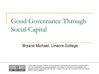 Good Governance Through Social Capital