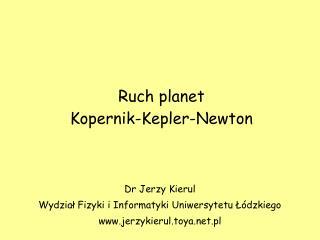 Ruch planet Kopernik-Kepler-Newton