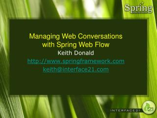 Managing Web Conversations with Spring Web Flow