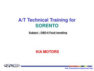 A/T Technical Training for  SORENTO