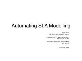 Automating SLA Modelling