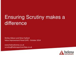 Ensuring Scrutiny makes a difference
