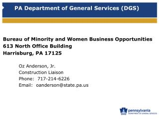 PA Department of General Services DGS