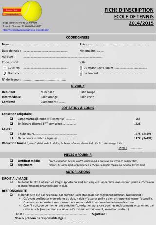 FICHE D'INSCRIPTION ECOLE DE TENNIS  2014/2015