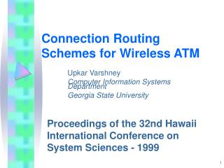 Connection Routing Schemes for Wireless ATM