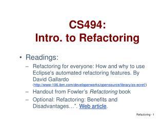 CS494: Intro. to Refactoring