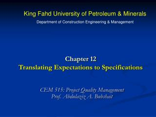 Chapter 12 Translating Expectations to Specifications