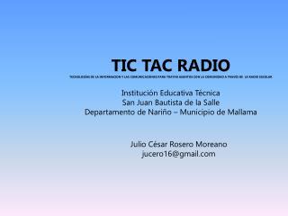 TIC TAC RADIO