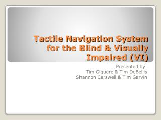 Tactile Navigation System  for the Blind & Visually Impaired (VI)