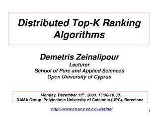 Distributed Top-K Ranking Algorithms