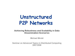 Unstructured  P2P Networks