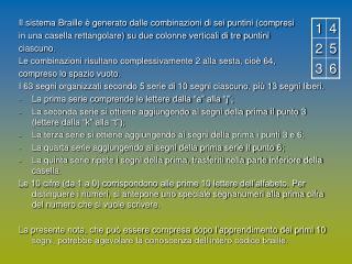 Il sistema Braille è generato dalle combinazioni di sei puntini (compresi