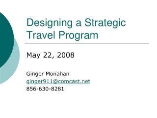 Designing a Strategic Travel Program