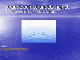 Lärande och Lärandets helhet Litteraturföreläsning: K Illeris 'Lärande'
