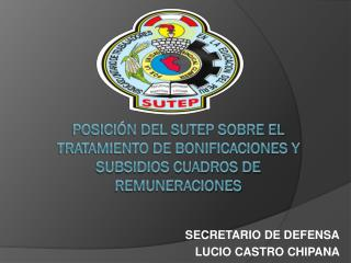POSICI�N DEL SUTEP SOBRE EL TRATAMIENTO DE BONIFICACIONES Y SUBSIDIOS CUADROS  DE REMUNERACIONES